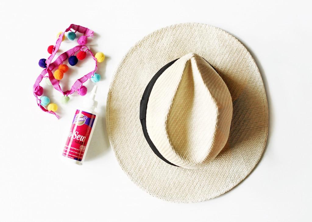 DIY Pom Pom Straw Hat