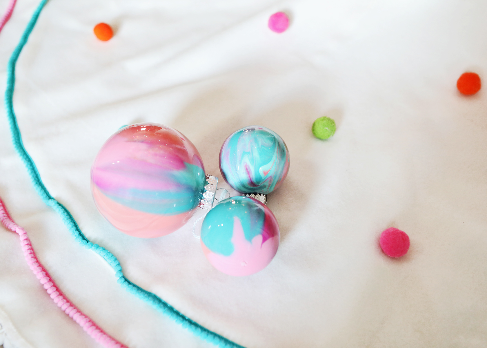 DIY Paint Filled Christmas Ornaments